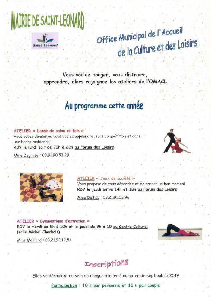 Programme 2019 de l'Office Municipal de l'Accueil de la Culture et des Loisirs