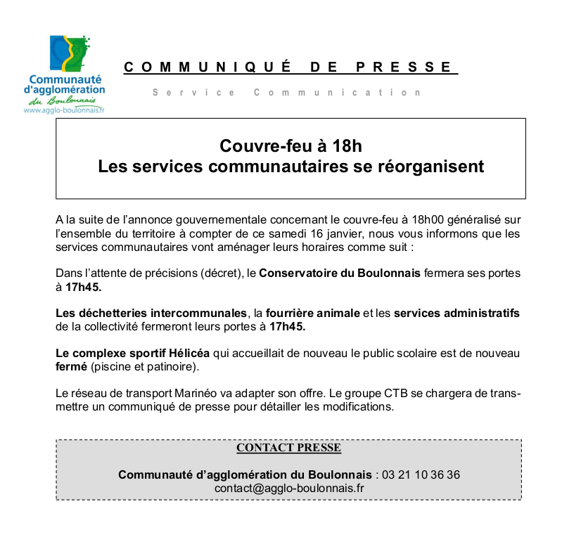 RÉORGANISATION DES SERVICES COMMUNAUTAIRES DE LA CAB SUITE AU COUVRE-FEU À 18H